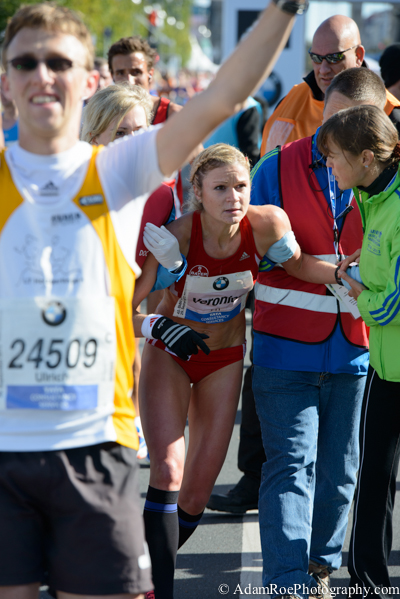Elation and pain at the finish line of the berlin marathon