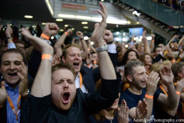 The reaction on the floor of CDU headquarters when the party's victory is first predicted