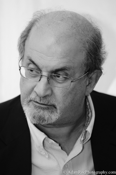 Salman Rushdie relaxing in the tent before his talk