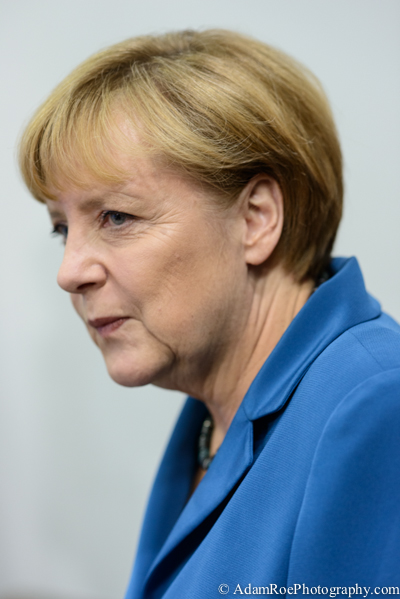 Angela Merkel as she takes the stage at CDU headquarters after the first votes come in.