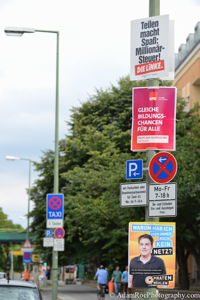 Election posters from The Left (top), SPD (middle) and The Pirates (bottom) in Prenzlauer Berg, Berlin