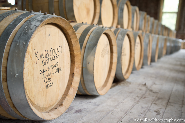 Bourbon Barrels aging upstairs at the  Kings County Distillery