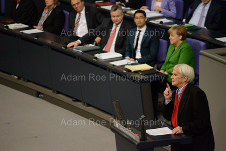 Hans-Christian Ströbele (MP, Green) addresses the Bundestag during a special session on the NSA syping scandal. He had met with Snowden the week before in Russia.