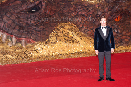 For Scale: Benedict Cumberbatch standing in front of the Smaug model. It's really, really big.