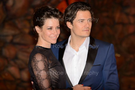 Just look at all those cheekbones. Evangeline Lilly (Tauriel, Elf) and Orlando Bloom (Legolas), posing for our lenses