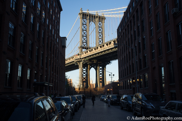 A view of the Manhattan Bridge from Brooklyn as the sun is going down on Thanksgiving.