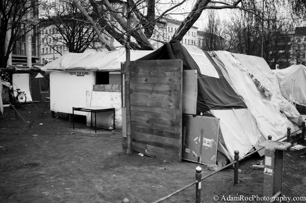 One of the sleeping places at Oranienplatz in Kreuzberg, Berlin, where refugees are camped out.