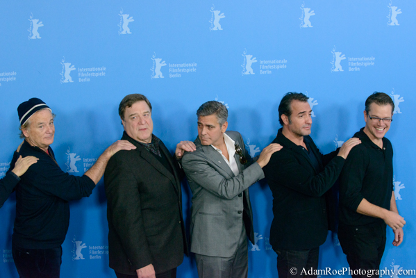 The Monuments Men brought a wave of Hollywood to Berlin. This crew came in singing and conga-lined out of there. Bill Murray, John Goodman, George Clooney, Jean Dujardin, Matt Damon. Most fun photo call ever.