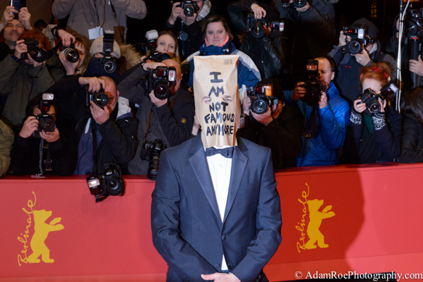 Shia Laboef at the premiere of Nymphomaniac from Lars von Trier. After keeping his head down in the photo call and leaving the press conference after a couple of minutes, he decided to brown bag the red carpet. Potentially the most exciting thing that happened during Berlinale.