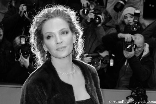 Uma Thurman graced the red carpet with presence at the opening of the controversial film Nymphomaniac. This shot caught the flash of another photographer directly behind her head, giving a perfect halo.
