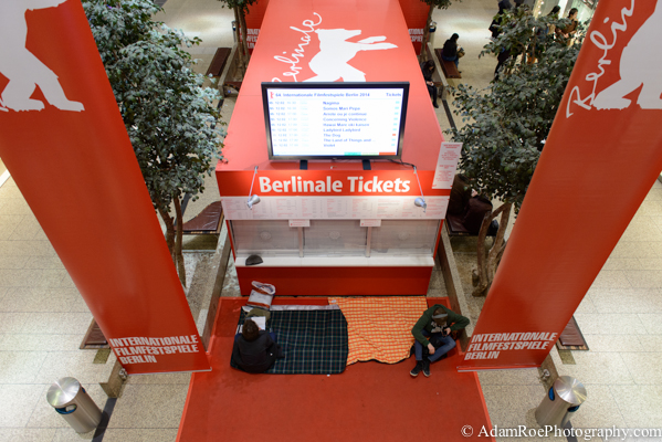 Fans sleeping in the mall in Potsdamer Platz to get tickets for the public, which go on sale early in the morning.