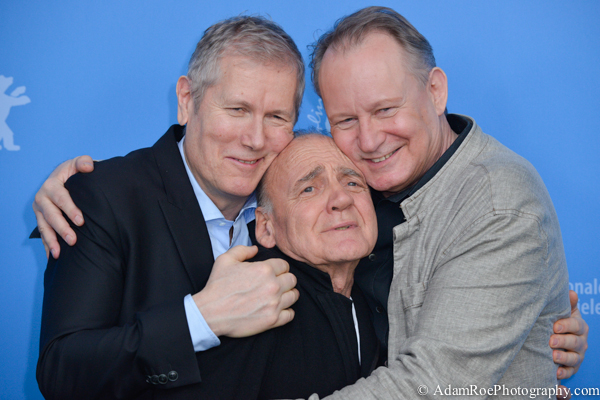 Nothing but love at the photo call for In Order of Disappearance: Hans Petter Moland, Bruno Ganz, and Stellan Skarsgard. Sure. they are actors. But this one shows some emotion, hard to snag at a festival.
