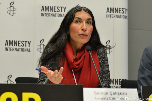 Selmin Caliskan, the Director of German Chapter of Amnesty International, during the press conference.