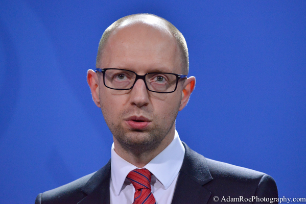 Arseniy Yatsenyuk, the Prime Minister of the Ukraine, speaking at the press conference.