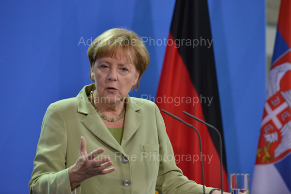 Angela Merkel during the press conference.