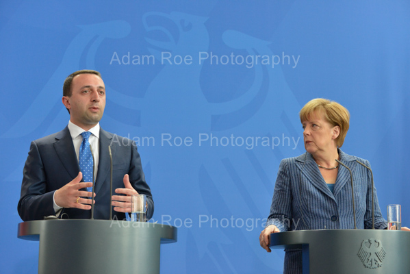 Prime Minister Irakli Garibashvili and Chancellor Angela Merkel at the afternoon press conference.