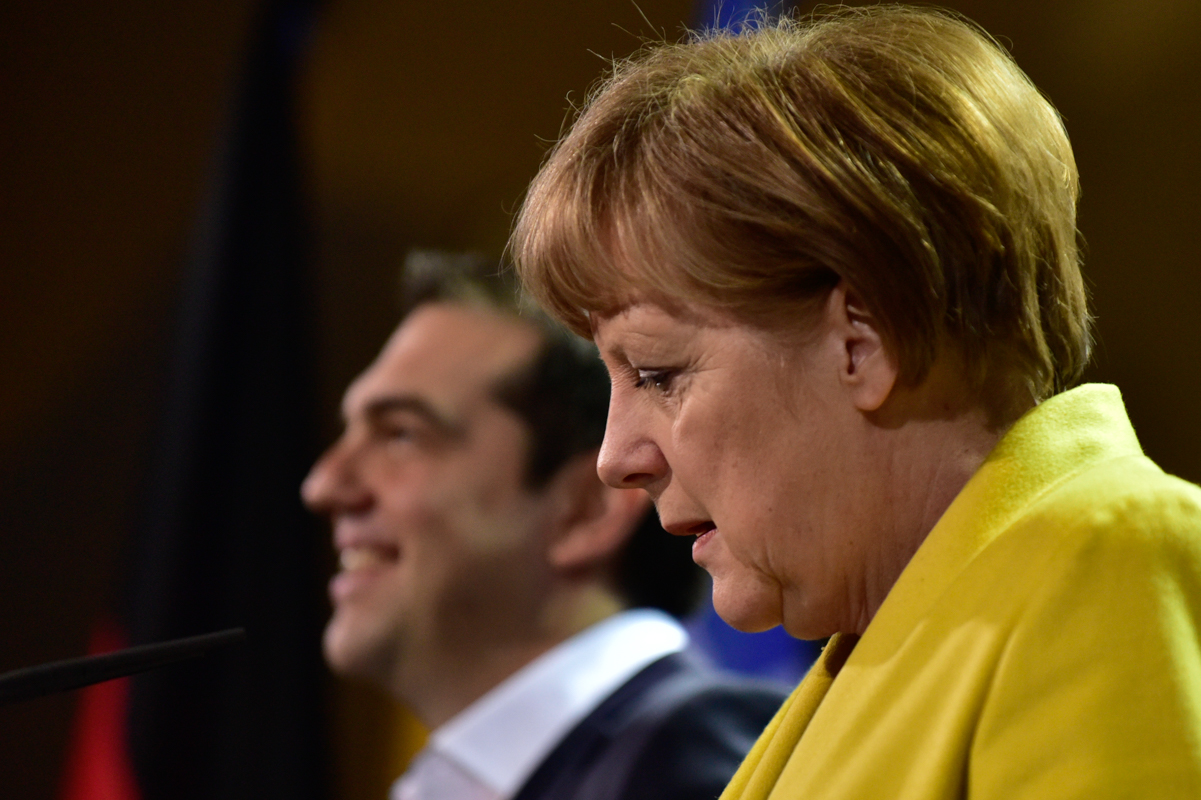 Angela Merkel and Alexis Tsipras start their press conference.