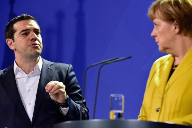 Angela Merkel and Alexis Tsipras at their press conference.
