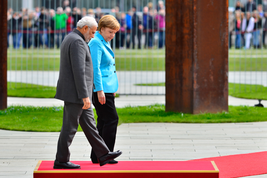 Chancellor Angela Merkel and Indian Prime Minisiter  Narendra Modi together in Berlin.