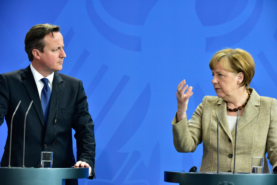 Angela Merkel tells David Cameron whats up.