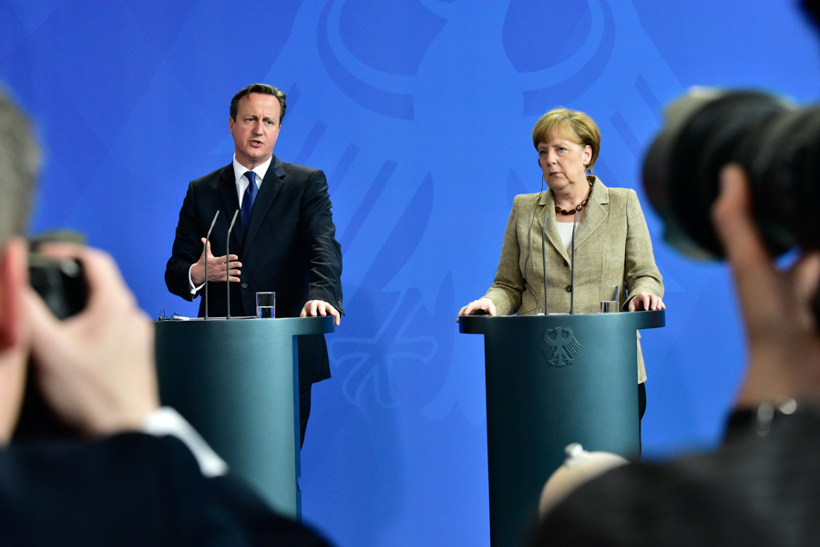 Angela Merkel and David Cameron, from the 2nd row. That's the view you get when you are late.