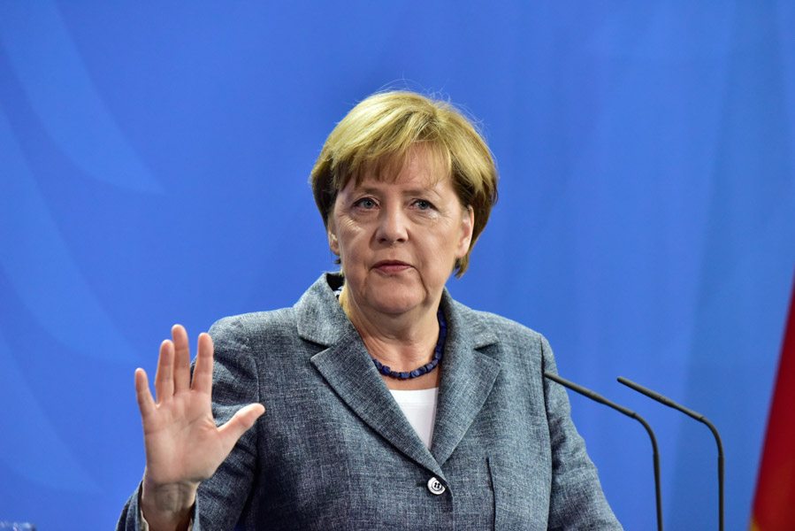 Angela Merkel,  more animated than usual.
